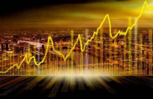 Free Stock Photo of City of London with Financial Graph
