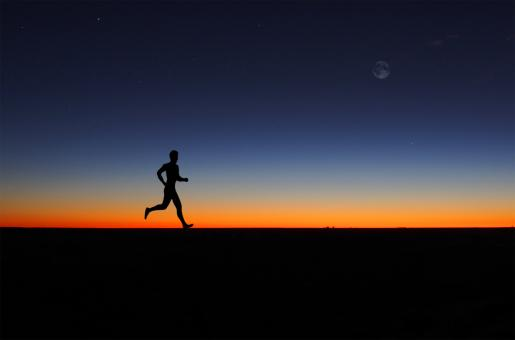 Free Stock Photo of Man running alone at dawn