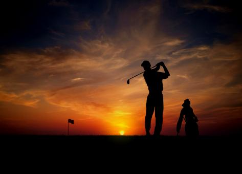 Free Stock Photo of Golfer at sunset