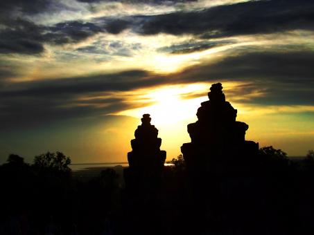 Free Stock Photo of Sunset at Angkor Wat - Cambodia
