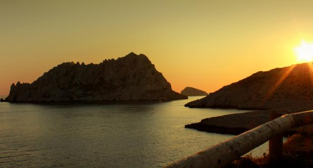 Free Stock Photo of Sunset over Les Calanques near Les Goude