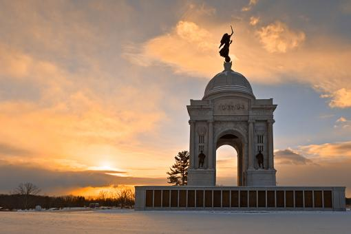 Free Stock Photo of Winter Gettysburg Sunrise - HDR