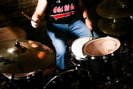 Free Stock Photo of man playing drums instrument