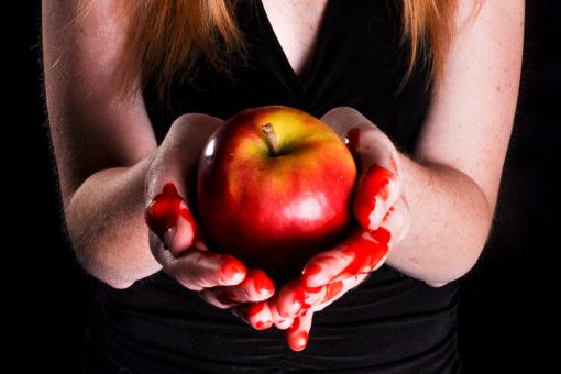 Free Stock Photo of Woman holding bleeding apple sin