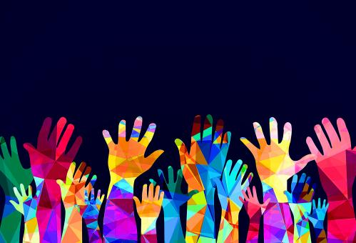 Free Stock Photo of Colorful hands up - happiness or help
