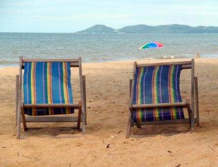 Free Stock Photo of Deckchairs on a Tropical Beach