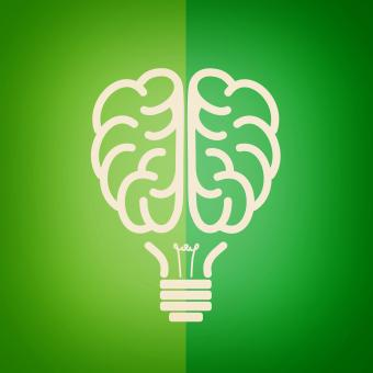 Free Stock Photo of Green lightbulb brain - Green concept