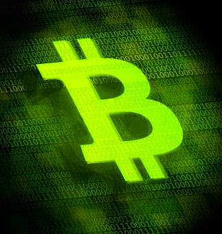Free Stock Photo of Bitcoin logo on digital screen
