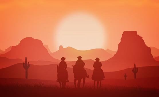 Free Stock Photo of Cowboys riding horses at sunset