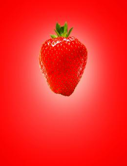 Free Stock Photo of Red (Strawberry) on Red (Background)