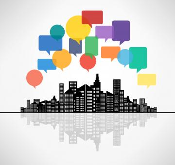 Free Stock Photo of Speech bubbles above the city