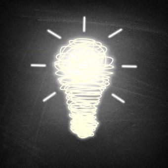 Free Stock Photo of Lightbulb idea on chalkboard background