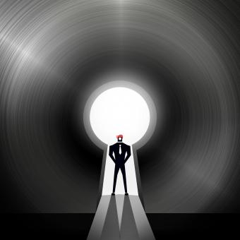 Free Stock Photo of Businessman through the keyhole - Creative solutions concept