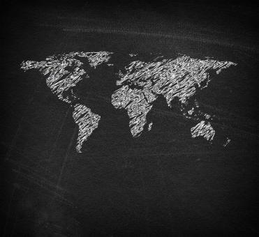 Free Stock Photo of  World map on blackboard - Sketchy looks