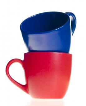 Free Stock Photo of Red and blue cups