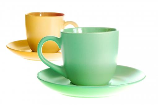 Free Stock Photo of Green and yellow cups