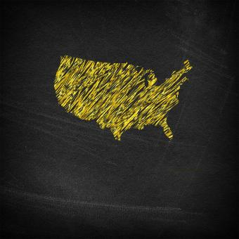 Free Stock Photo of Main continental United States on chalkboard