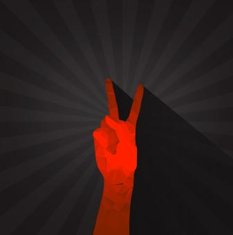 Free Stock Photo of Polygonal hand displaying victory sign