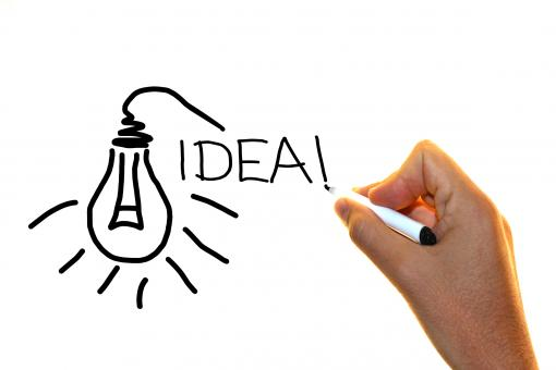 Free Stock Photo of Hand drawing the word idea with lightbulb sketch
