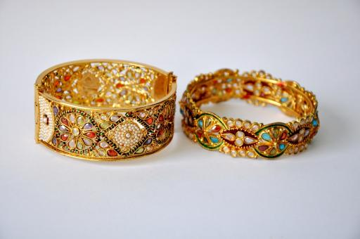 Free Stock Photo of Two Golden Bangles