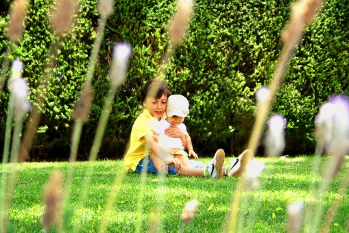 Free Stock Photo of Sweet older brother hugging his young sister on the grass