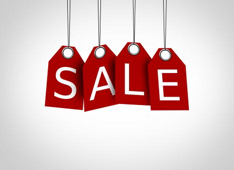 Free Stock Photo of Red tags dangling with the word sale - Sales concept