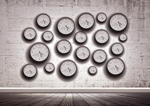 Free Stock Photo of Clocks in the wall - Time concept
