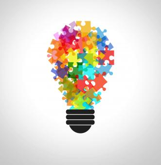 Free Stock Photo of Puzzle in a lightbulb - Problem solving concept