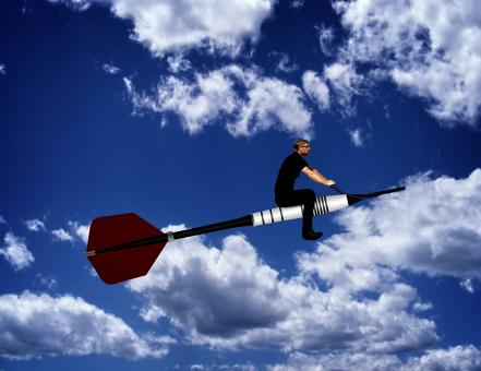 Free Stock Photo of Man riding a dart through the sky