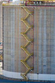 Free Stock Photo of Stairs on an Oil Storage Tank