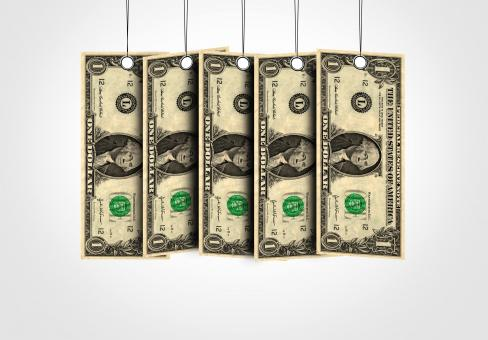 Free Stock Photo of Dollar bills as labels hanging from a thread
