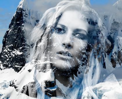 Free Stock Photo of Beautiful lady in the mountains - Double exposure effect