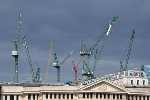 Free Stock Photo of Tower cranes