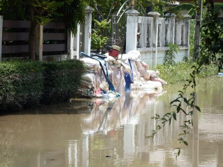 Free Stock Photo of Sandbags Protecting Against Flood Water