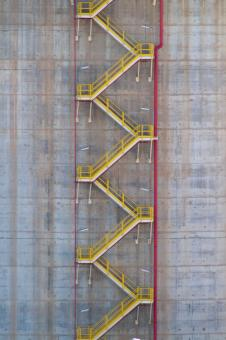 Free Stock Photo of Yellow Stairs on Storage Tank