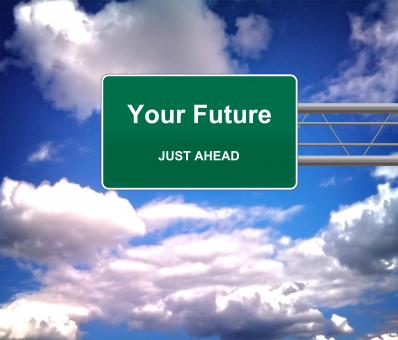 Free Stock Photo of Your Future Just Ahead road sign - Future concept