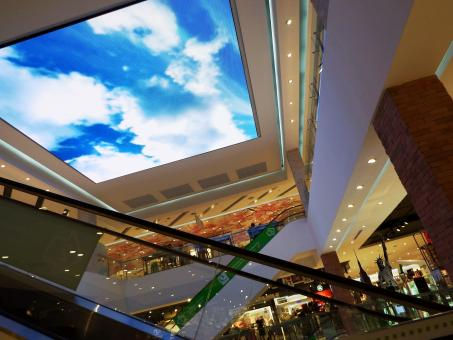 Free Stock Photo of Shoping Center Ceiling TV