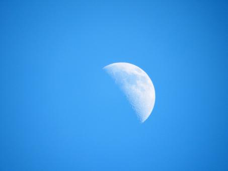 Free Stock Photo of Half Moon in Daylight