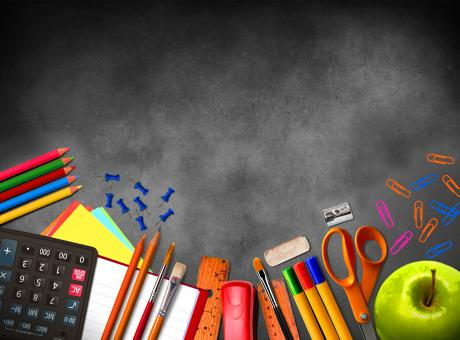 Free Stock Photo of Illustration of school supplies and material on blackboard background