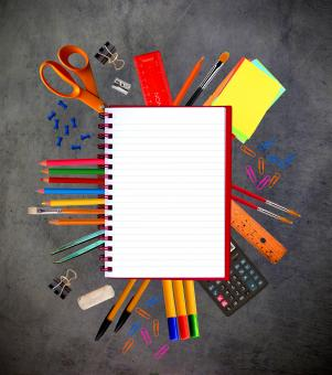 Free Stock Photo of Notebook and school stationery supplies