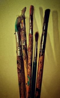 Free Stock Photo of Used paintbrushes - Noisy grunge looks