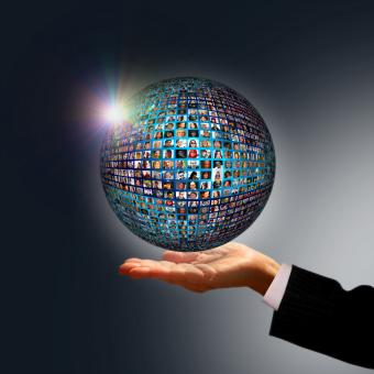Free Stock Photo of Businessman holding a globe made of people