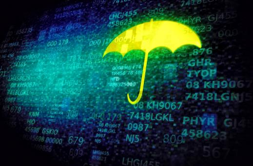 Free Stock Photo of Web and cyber security concept with umbrella on data screen