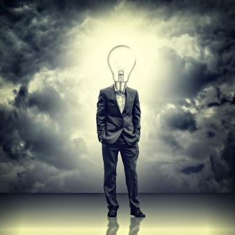 Free Stock Photo of Businessman with lightbulb head