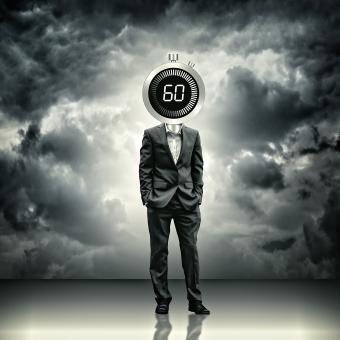 Free Stock Photo of Businessman with stopwatch head - Time concept