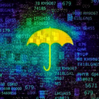 Free Stock Photo of Cyber security concept with umbrella on data screen