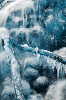Free Stock Photo of Frozen Harp Falls - Winter Blues