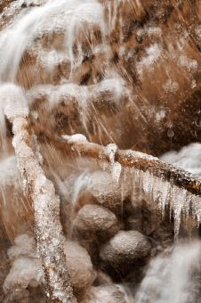 Free Stock Photo of Frozen Harp Falls - Sepia Nostalgia