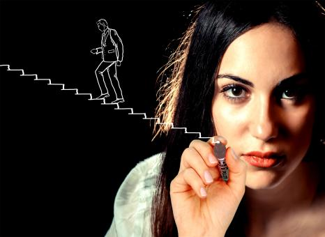 Free Stock Photo of Woman sketching a businessman climbing stairs
