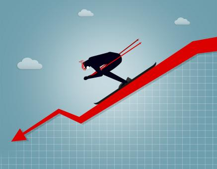 Free Stock Photo of Businessman going downhill - Market crash and correction concept